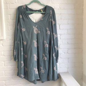 Free People Teal Long sleeve Boho Mini Dress Small